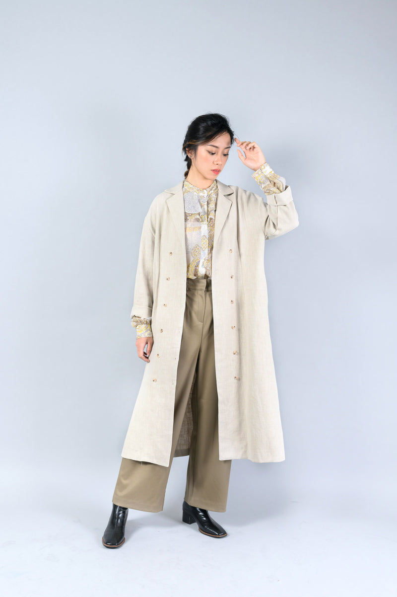 Wheat linen outer in double buttons