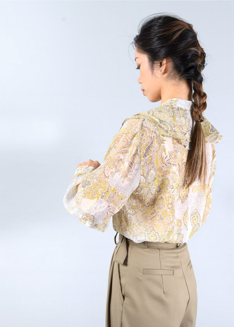 Yellow pattern blouse w/ peplum collars