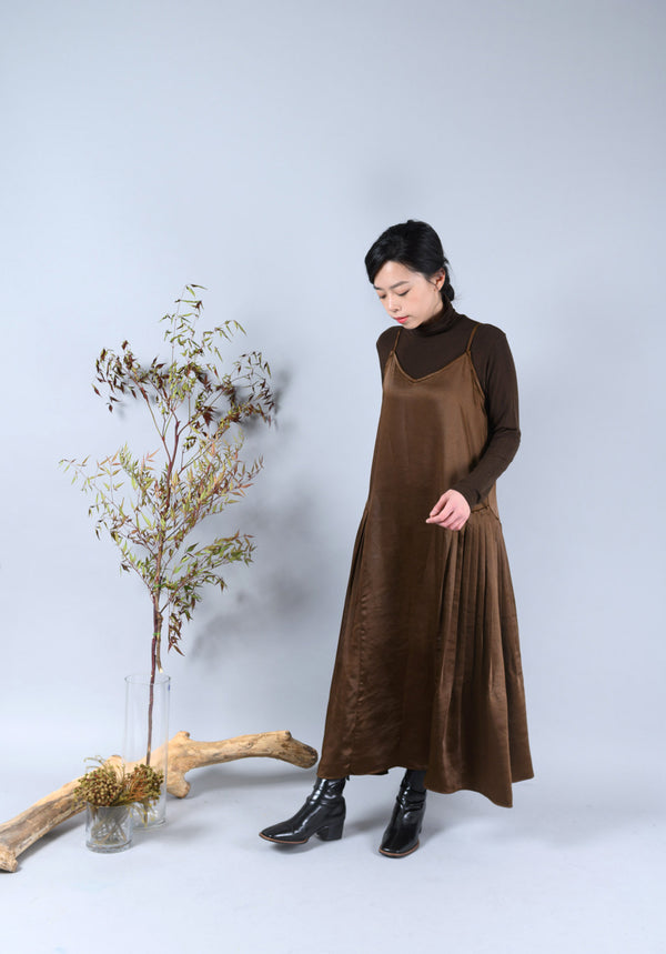Dark brown high neck soft top