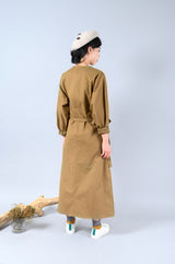 Mocha shirt dress w/ waist tied detail