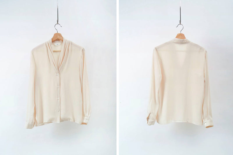 Ivory soft blouse in v cut pleated collar