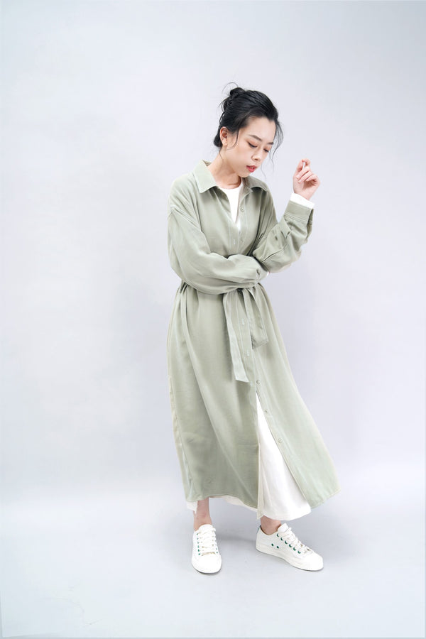 2 ways pale green shirt dress w/ outlined stitch
