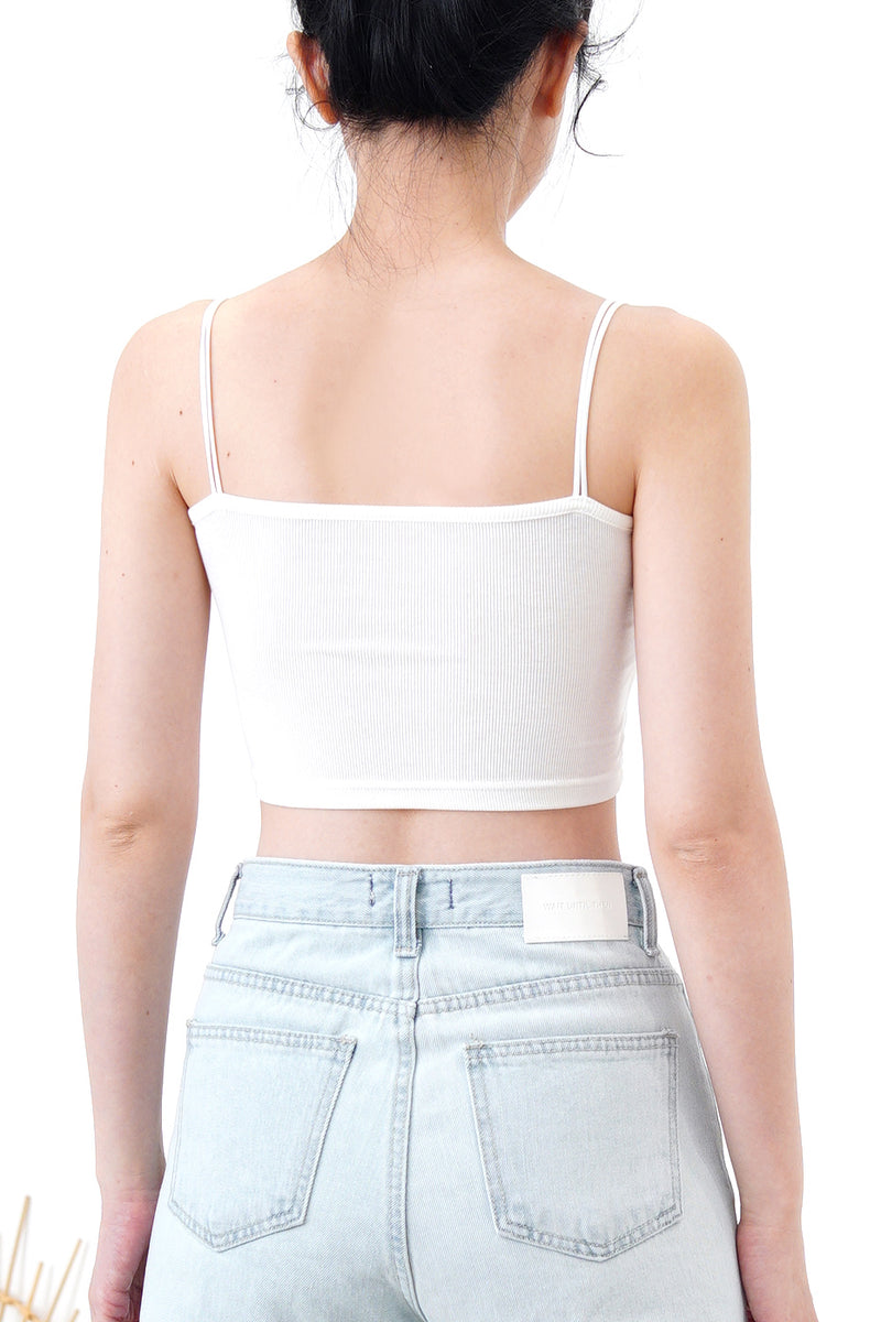 White square bra top in thin straps