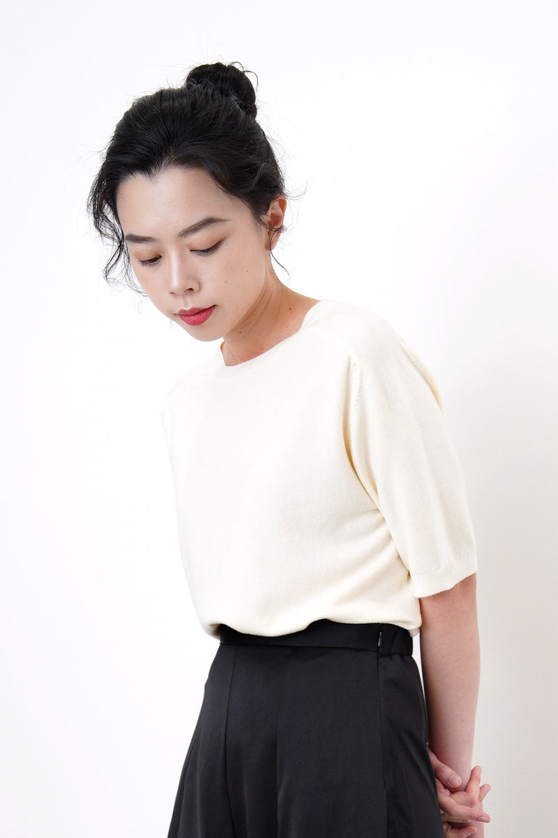 Cream soft knit top