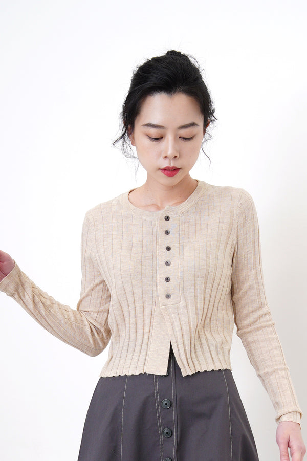 Oatmeal stripes knit cardigan in crop cut
