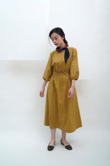 Mustard ballon sleeves dress w/ waist strap