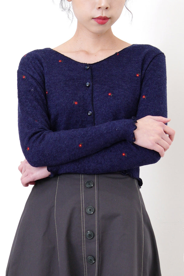 Navy cardigan w/ floral embroidery