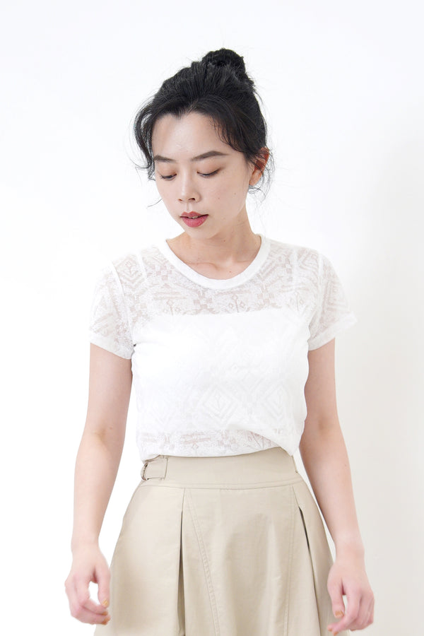 White pattern sheer top