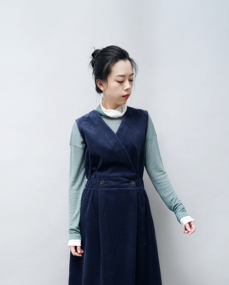 Navy corduroy dress w/ front buttons