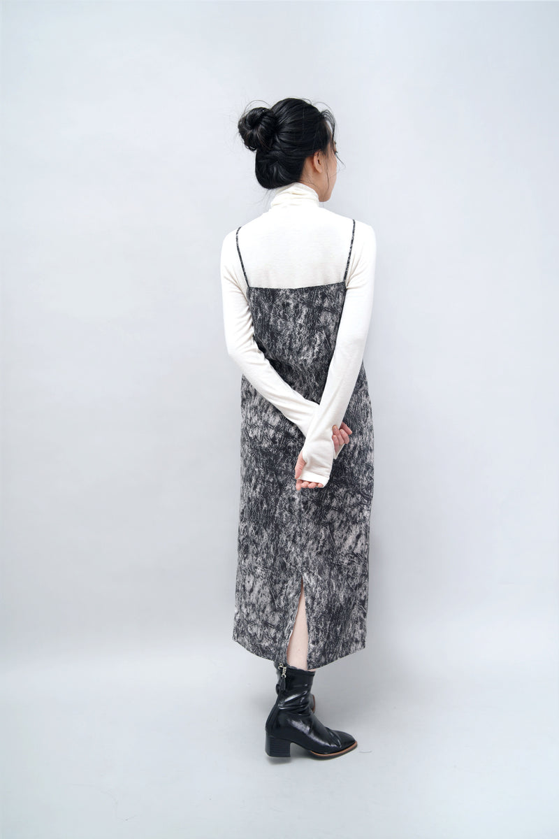 Black cami dress in marble stone print