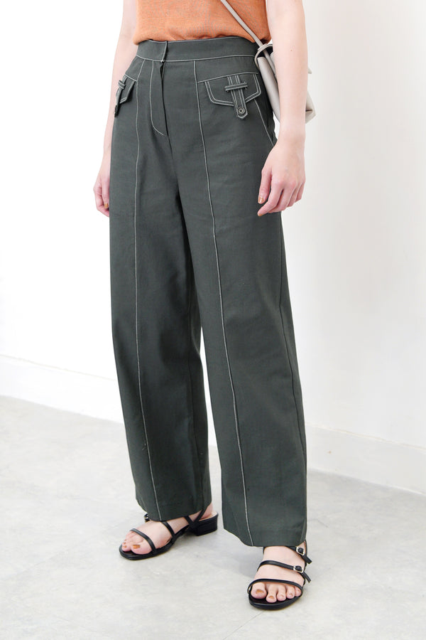 Dark green straight cut trousers w/ detail pockets