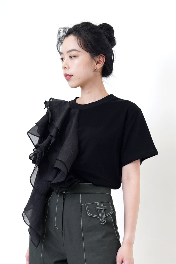 Black tee top in organza ruffles detail