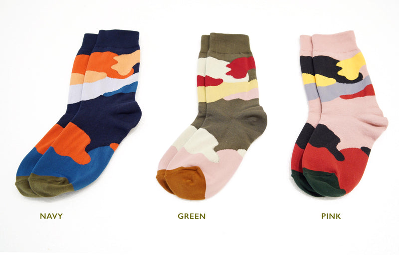 Abstract color block socks