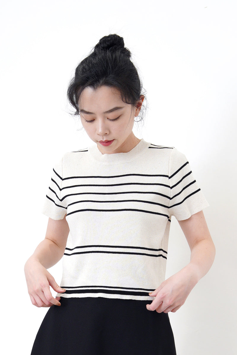 Beige knit top in stripes