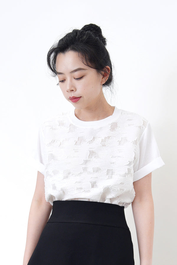 White top in sheer flower pattern