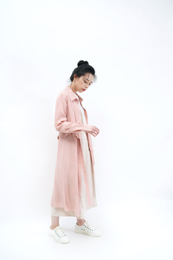 Pink 3 ways shirt dress w/ detail layering