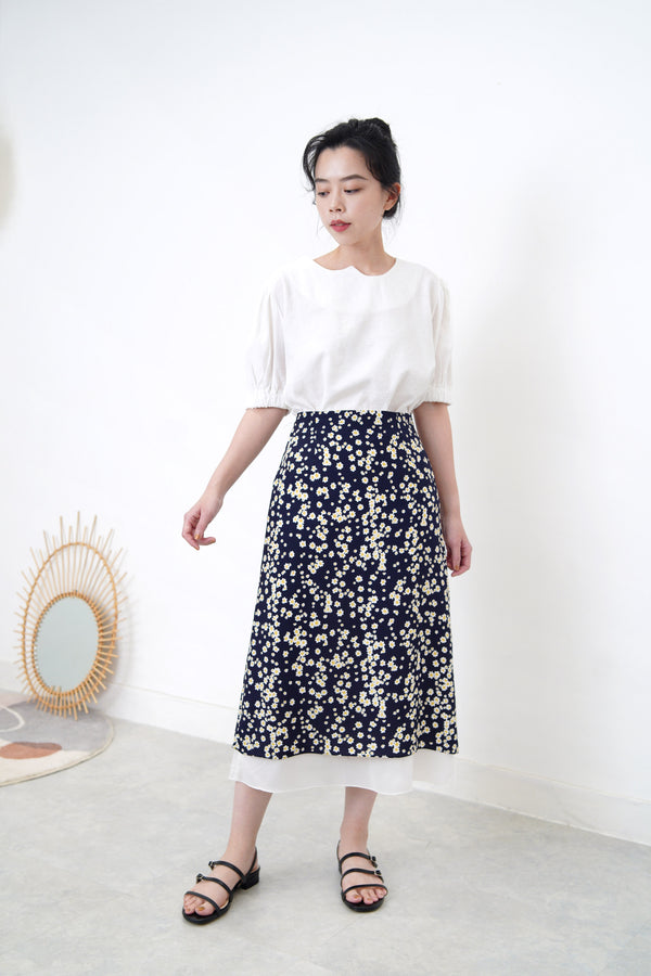 Navy floral print skirt in layering hem