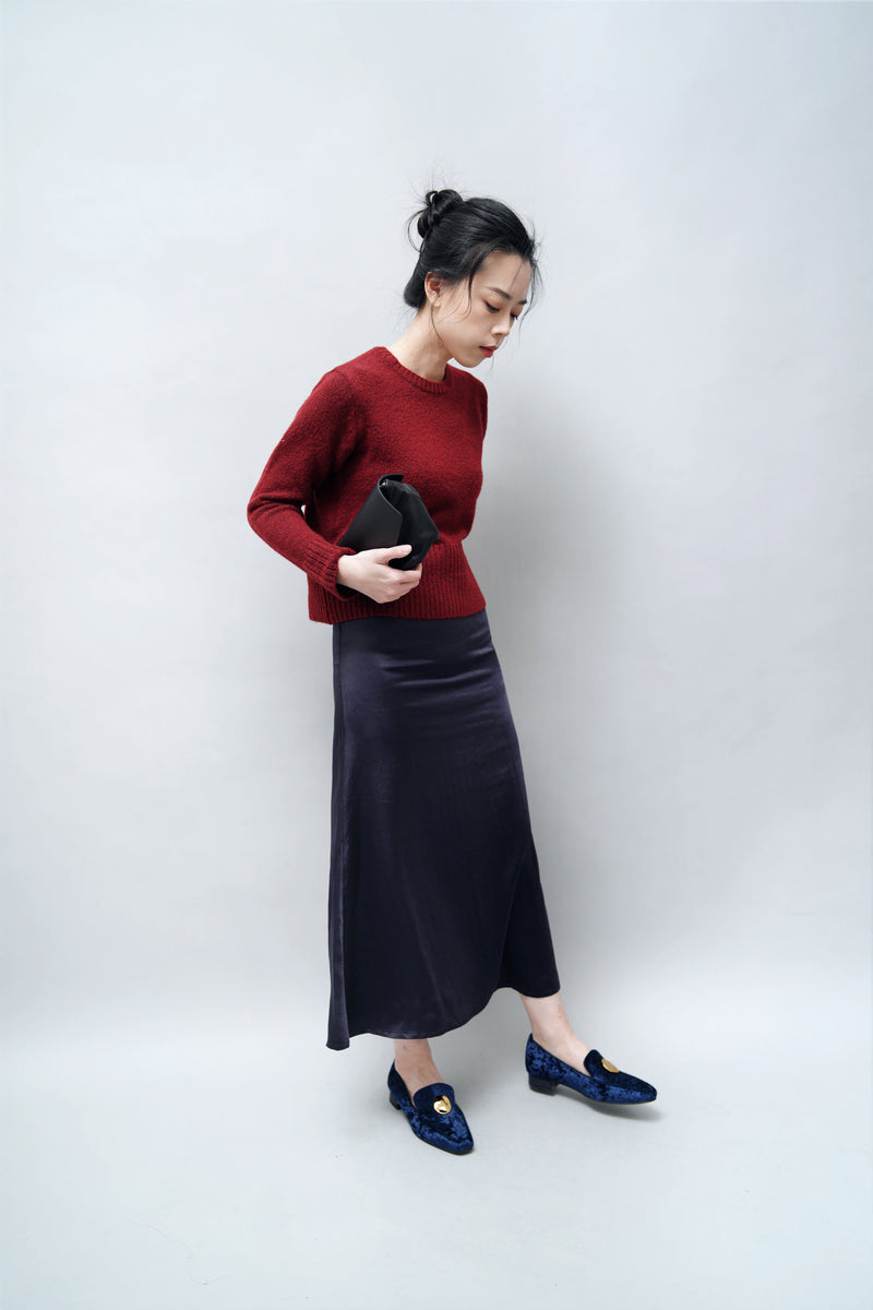 Navy satin midi skirt