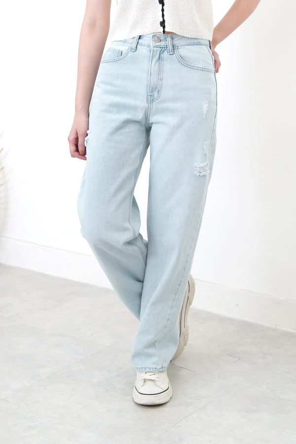 light blue straight cut summer jeans