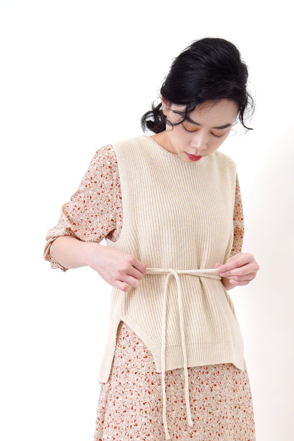 2 ways knit vest w/ waist string