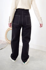 Charcoal grey high waist trouser w/ outlined stitch