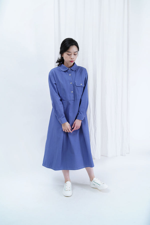 Blue outlined dress in round collar