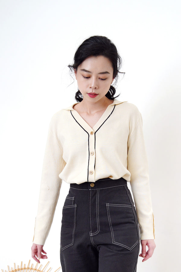 Ivory v neck cardigan in button details
