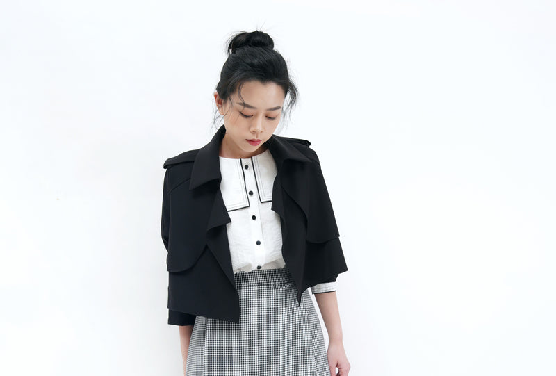 Black crop jacket in trench coat style