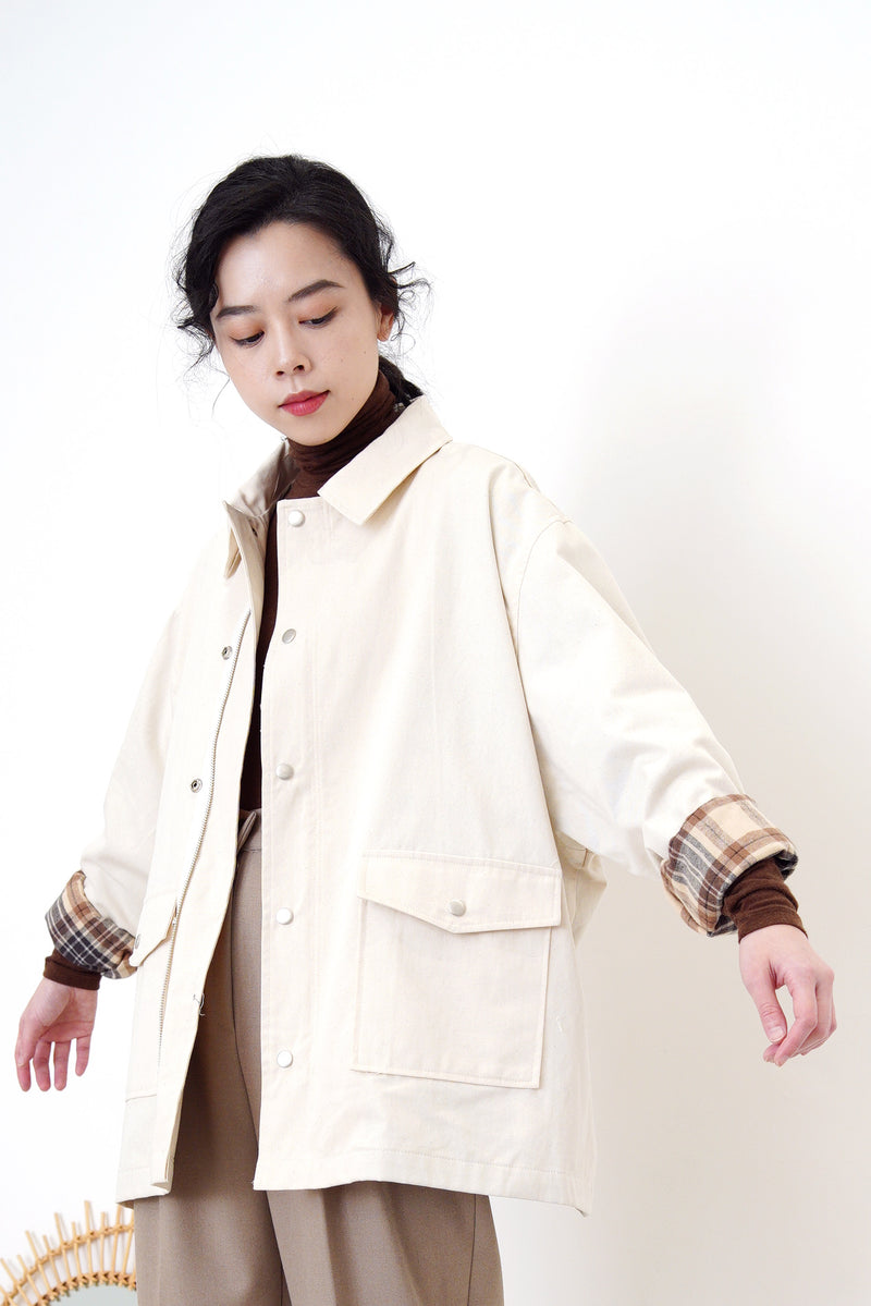 Cream jacket in brown checked inner