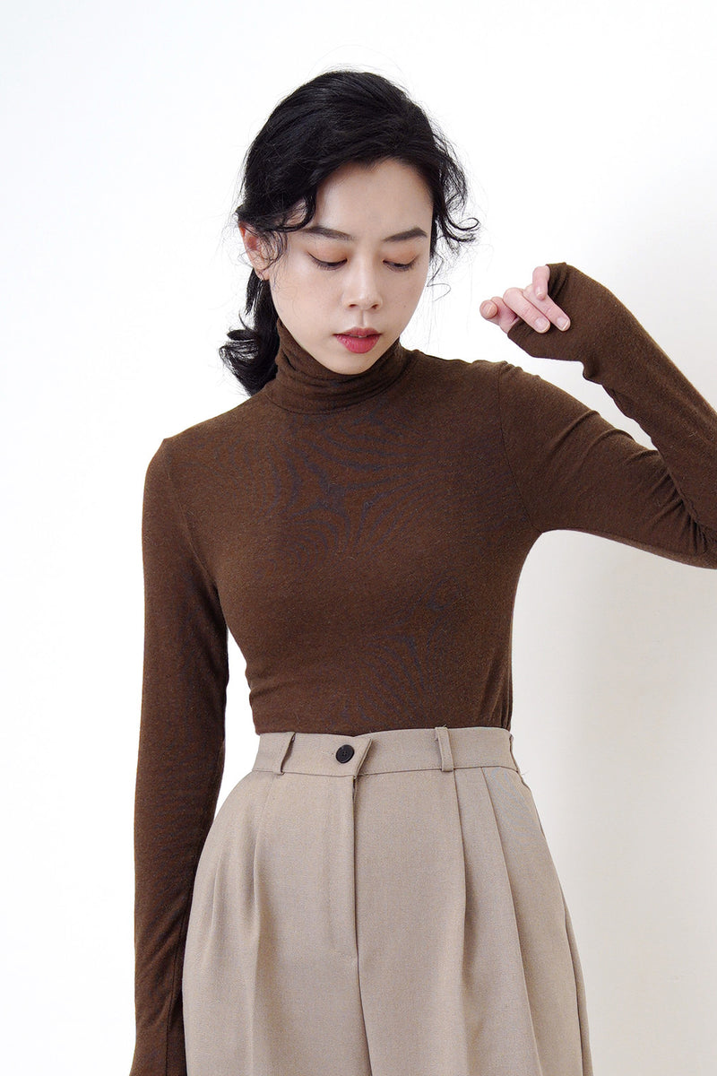 Brown turtle neck tank top