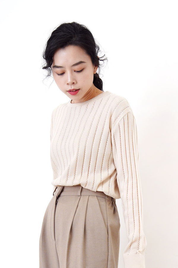 Beige detail stripes knit top