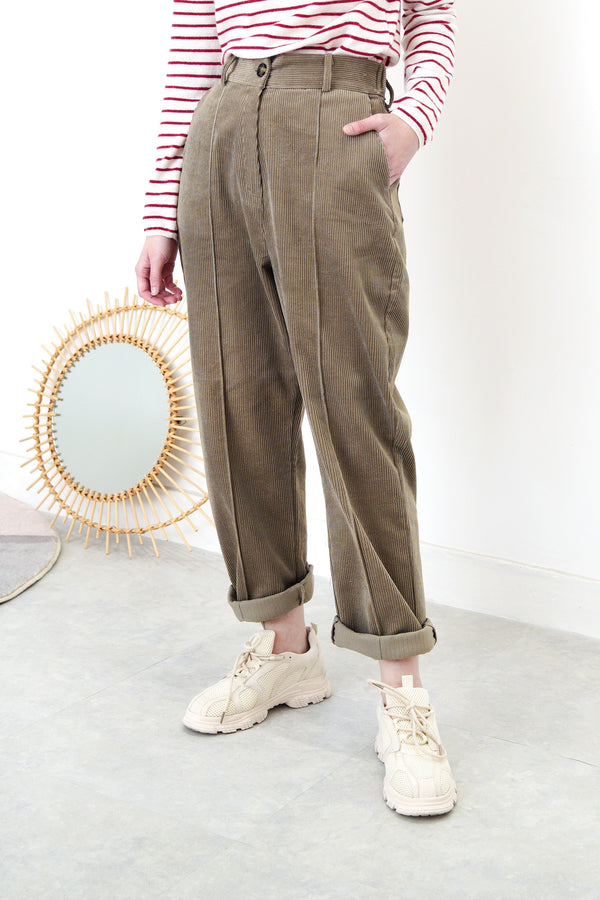 Brown corduroy pencil cut trousers