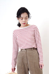 Wool red stripes top in boat neck collar