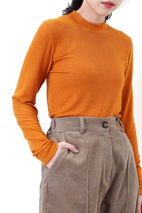 Autumn orange cotton top in stand collar
