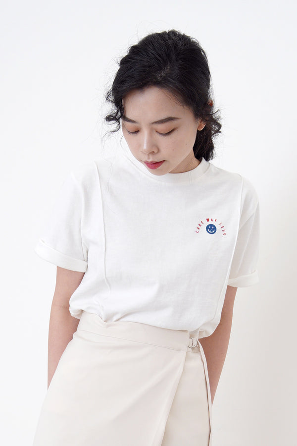 White smily face tee top