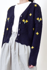 Navy cardigan in flora embroidery