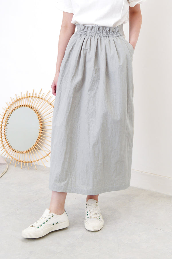 Grey blue skirt in gather waist detail