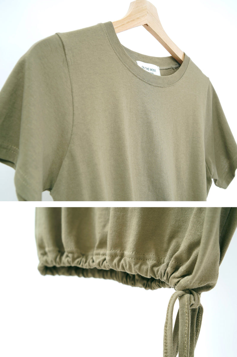 Dark olive green top w/ string hem