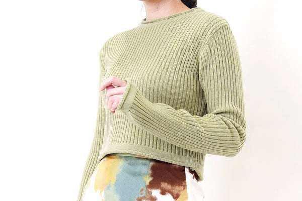 Green tea knit sweater in crop cut