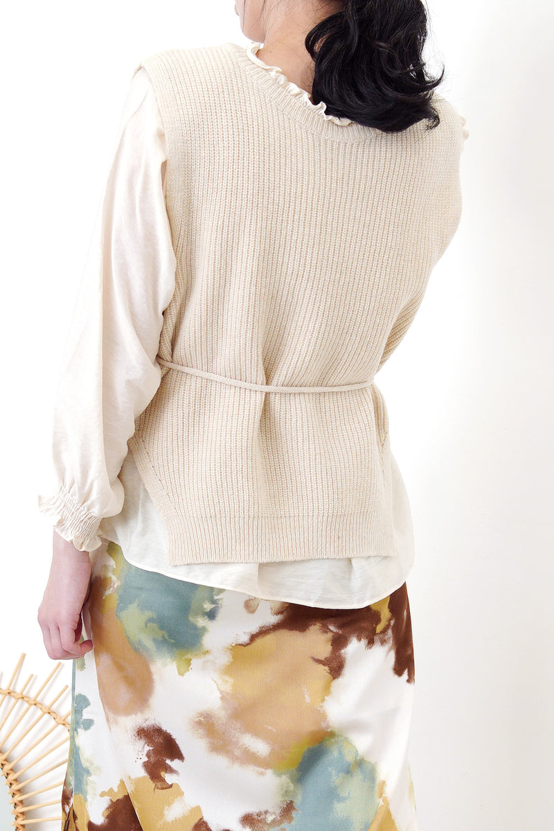 Cream soft blouse in ruffle trimmed