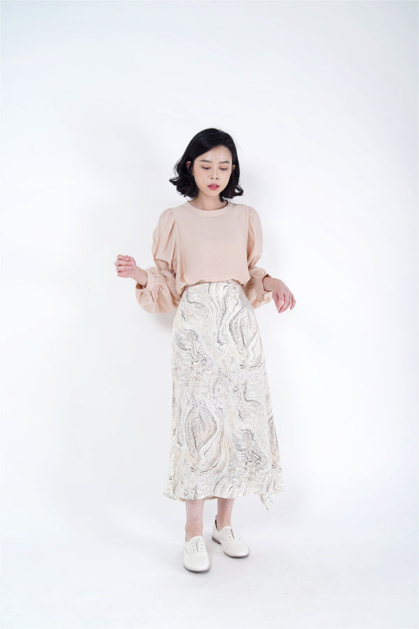 Ivory skirt in marble print