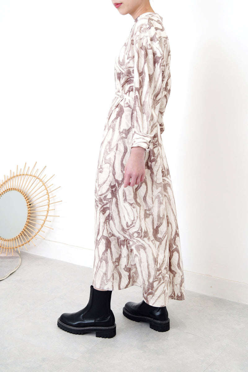 Brown stand collar shirt dress in marble print