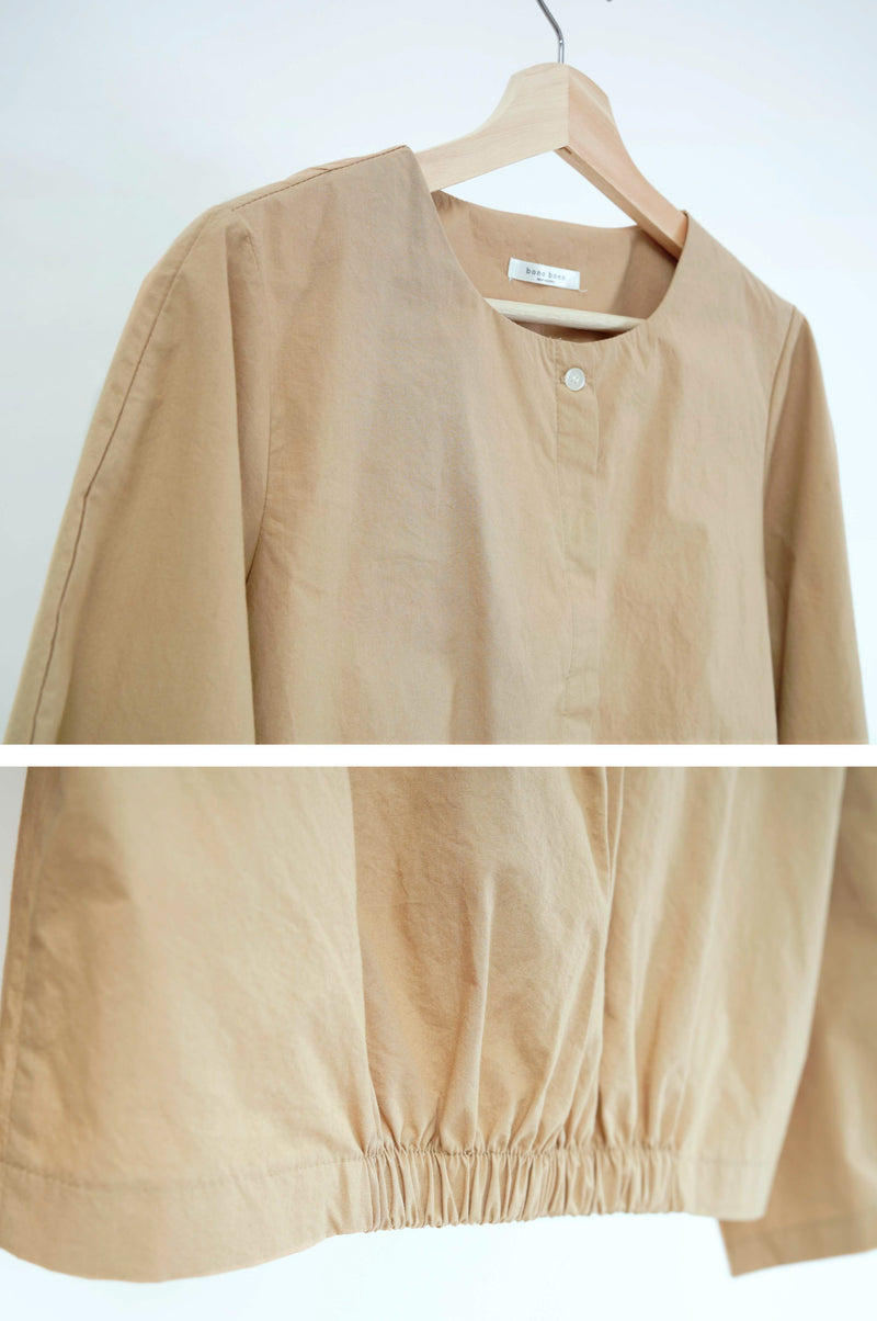 Camel shirt blouse in balloon sleeves