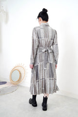 Grey elegant pattern pleats dress w/ strap
