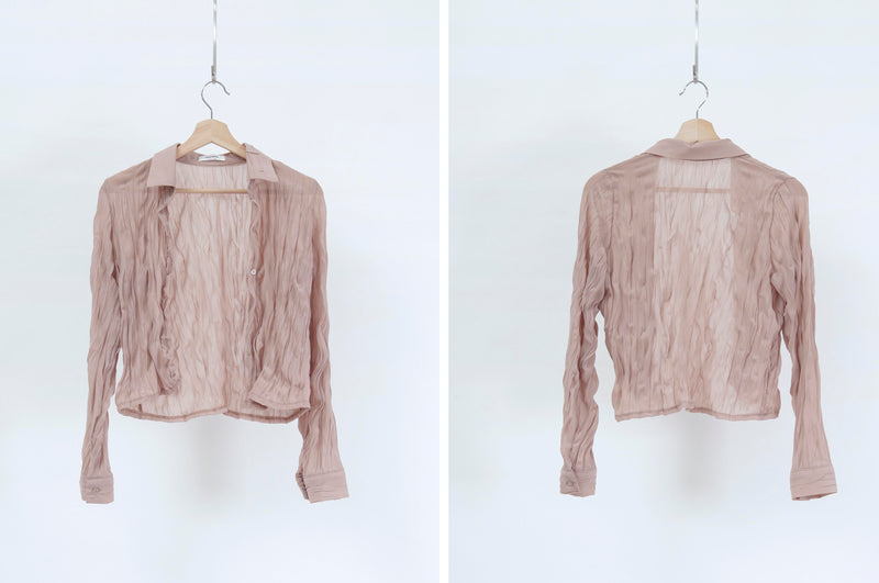 Lotus pink shirt blouse in wrinkle texture