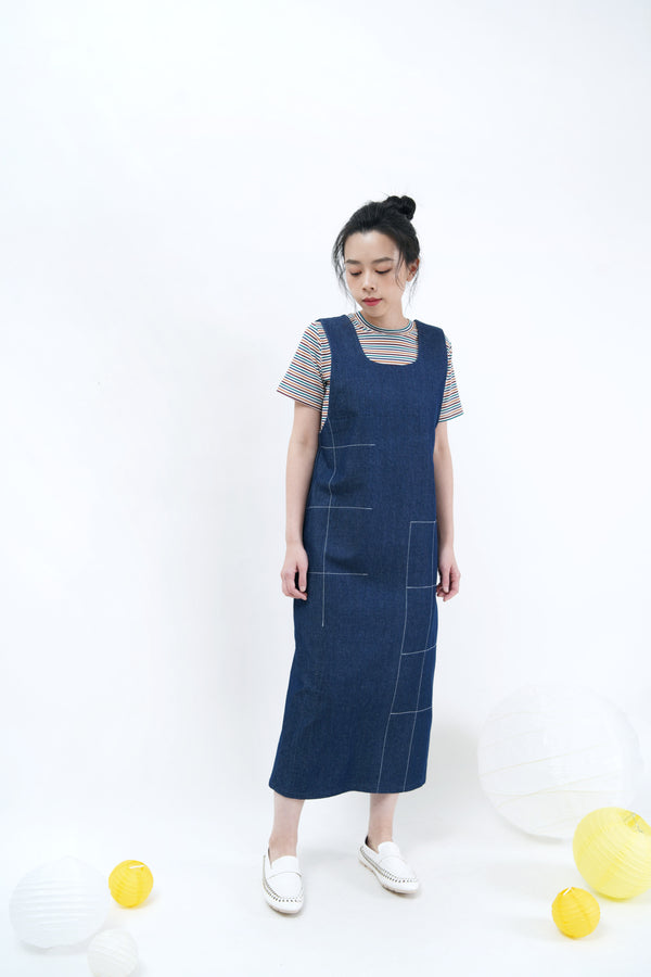Denim dress in contrast stitch pattern