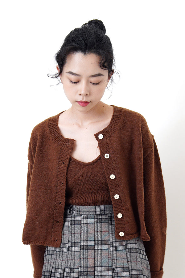 Brown cami vest in crop cut