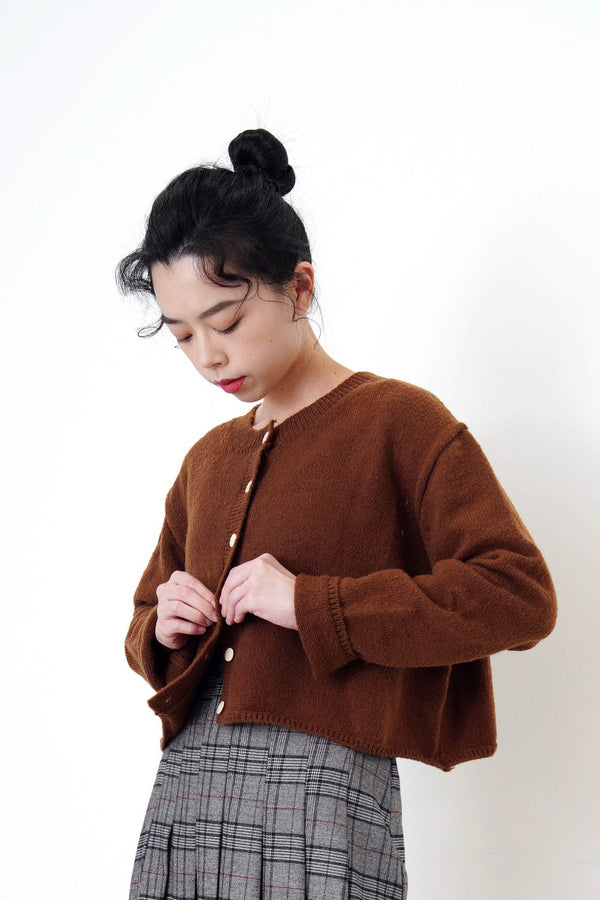 Brown cardigan in crop cut