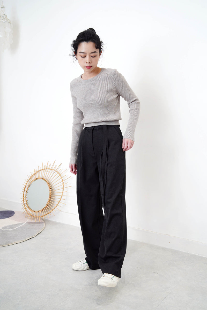 Charcoal grey trousers in double waist straps