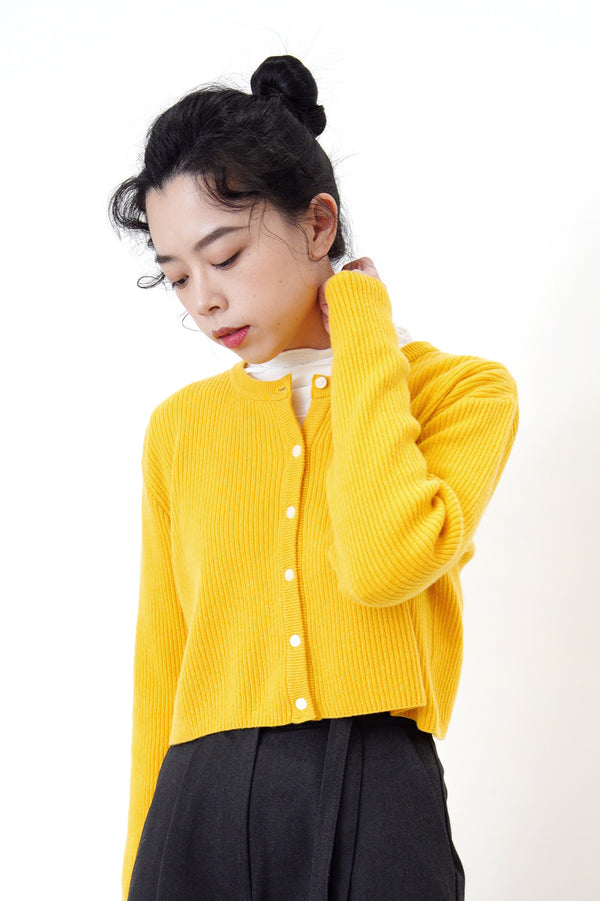 Mango yellow cardigan in crop cut